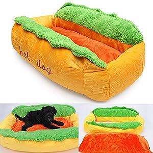 EDTara Coton Hot Dog Forme Panier pour animal domestique chenil Chat Chien Chiot Nest Maison chaud Tapis de coussin lavable Pad