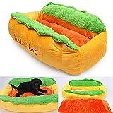 Leoie Haustierbett, Waschbar Baumwolle Hot Dog Form Hundehütte Katze Hund Nest Puppy House Warm Matte Kissen Pad