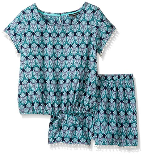My Michelle Big Girls' Printed Two Piece Set With Tie Front Pom Trim, Navy/Mint, - Pom Shorts Mädchen Pom