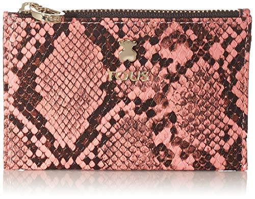 Monedero -tarjetero TOUS, colección dorp wild en color serpiente rosa, de vinilo efecto piel, cierre con cremallera, 3 compartimentos para tarjetas, medidas : 8 x 12 x 1 cm.