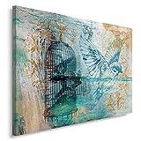 Feeby, Wandbild - 1 Teilig - 40x50 cm, Leinwand Bild Leinwandbilder Bilder Wandbilder Kunstdruck, VOGEL, NATUR, MODERN, BLAU