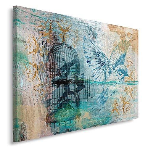 Vogel Leinwand Kunst (Feeby, Wandbild - 1 Teilig - 60x80 cm, Leinwand Bild Leinwandbilder Bilder Wandbilder Kunstdruck, VOGEL, NATUR, MODERN, BLAU)