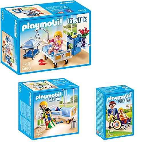 PLAYMOBIL® City Life Die freundliche Kinderklinik 3-tlg. Set 6660 6661 6663 Krankenzimmer mit Babybett + Ärztin am Kinderkrankenbett + Kind im Rollstuhl
