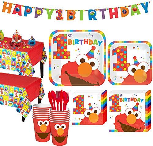 Party city 1. Geburtstag Elmo Party-Set für 16 Gäste, inkl. Tischdecken, Tischdeko-Set und Banner