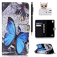 Felfy LG X Power Hülle,LG X Power Case,LG X Power Tasche Leder Flip Bookstyle Wallet Luxe Handyhülle Niedlich Farbe Muster Premium Slim PU Leather Pouch Shell Soft mit TPU Inner Shell Multi Function mit Stand Magnetic Slots Lederhülle Schutzhülle Bumper Case Cover für LG X Power (Schmetterling) + 1x