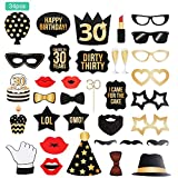 Lictin 34pcs 30. Geburtstag Fotorequisiten & Fotoaccessoires Photo Booth Fotorequisiten Fotobox Accessoires Foto Requisiten