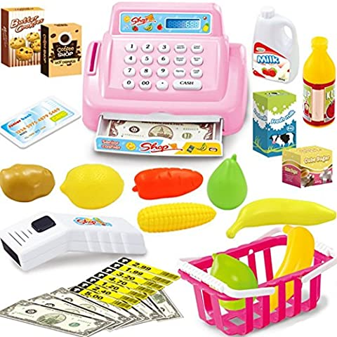 Girls Little Shopping Toy Kids Toy Supermarket Till Cash Register, Shop Till Battery operated cash register making real sounds and Accessories