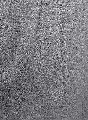 oodji Ultra Damen Taillierter Mantel mit Knöpfen Grau (2300M)