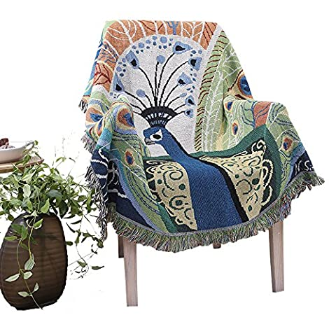 Chenille Jacquard Tassels Throw Blanket Sofa Chair Cover Peacock By