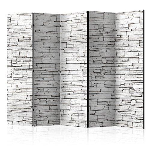 murando Raumteiler Stein-Optik Foto Paravent 225x172 cm beidseitig auf Vlies-Leinwand Bedruckt Trennwand Spanische Wand Sichtschutz Raumtrenner grau f-B-0117-z-c