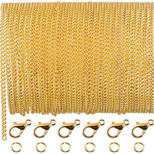 TecUnite 33 Fuß Gold Überzogen Gliederkette Halskette mit 30 Biegeringen und 20 Karabinerverschlüsse für Männer Damen Schmuck Kette DIY Handwerk (2,5 mm)