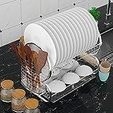 Ncient Abtropfgestell 2 Etagen Edelstahl Küchen Geschirrablage Abtropfbrett Abtropfständer Abtropfgitter Geschirrtrockner für Teller und Besteck, 44 x 25 x 38 cm, Silber