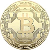 Bitcoin, Brass with gold Plating, acabado: Polished Plate, 40 x 3 mm, en acryllic Cup,
