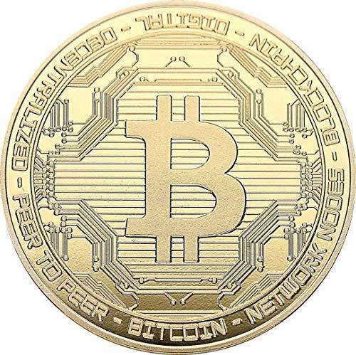 """Echte """"Bitcoin""""-Münze in Goldprägung - Crypto-Coin Mining Miner Medaille Sammelmünze in 40mm..."""