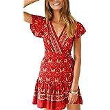 Vestidos Verano Mujer V Cuello Manga Corta Vestidos Mujer Casual con Cinturón Bohemios Florales Vestido Playa