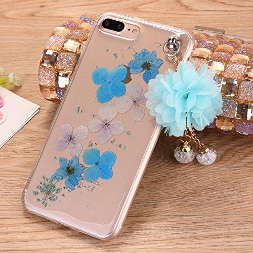 Wkae Epoxy Dripping gepresste echte getrocknete Blume weiche transparente TPU Schutzhülle mit Pfirsich Anhänger für iPhone 7 Plus ( SKU : Ip7p0995b ) Ip7p0995e