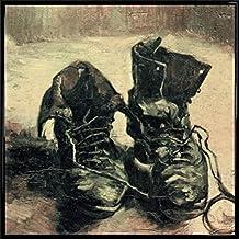 Vincent Van Gogh Poster Kunstdruck und Kunststoff-Rahmen - Stilleben Ein Paar Schuhe 1886 (40 x 40cm)