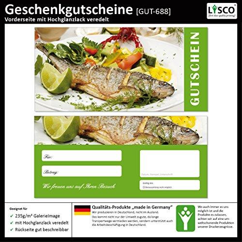 d2ad9cb2e1 100 Stück Geschenkgutscheine (Fisch-688) Gutscheine Gutscheinkarten für  Gastronomie Bereiche wie Restaurant Gaststätte