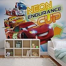 Disney Cars Lightning McQueen - Wallsticker Warehouse - Fototapete - Tapete - Fotomural - Mural Wandbild - (751WM) - XXL - 312cm x 219cm - VLIES (EasyInstall) - 3 Pieces