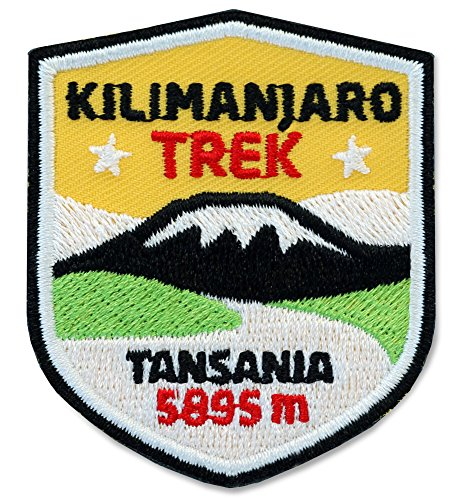 Afrika-patch (2er-Pack, Stick Abzeichen 51 x 60 mm / Kilimanjaro Trek Tansania Afrika / Applikation Aufnäher Aufbügler Bügelbild Patch / für Kleidung Rucksack / Reise Wandern Klettern Tour Karte Kompass)