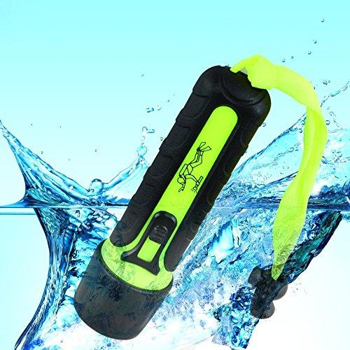 MUMENG Tauchen Taschenlampe, Super Helle Tauch Beleuchtung, LED 3W Torch Professional Taschenlampe für Tauchen/ Wandern/ Camping (gelb + schwarze Farbe)