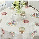 Cystyle Wasserdicht und ölbeständig Haus Dekor Baumwolle und Leinen Runde Oval gedruckt Floral/Streifen Tischdecke (Stil 2, Durchmesser 160cm)