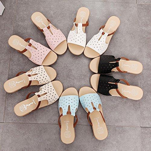FEITONG Sommer Ausschnitt Sandalen Solid Color Beach Hausschuhe Beige-1