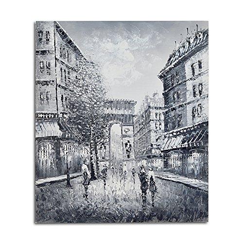 De Arc Triomphe-dekor (Raybre Art® 50 x 60 cm 100% Handgemaltes Gemälde auf Leinwand Bilder Moderne Abstrakte Ölgemälde Landschaft Baum Straßenszene Paris Eiffel / Arc de Triomphe Turm Wandbilder für Dekor-Kunst-Wand-Raum Küche Schlafzimmer Halle, Kein Rahmen (Arc de Triomphe, Schwarz und weiß))