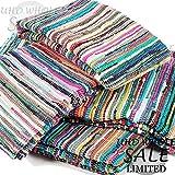 FB FunkyBuys® großen Multi farbige eingefasst Chindi fleckerlteppichs–Matte Teppich Läufer erhältlich in verschiedenen Größen, Multi Color,red,green,pink,blue,silver,grey,black,yellow, 160 x 270 cm