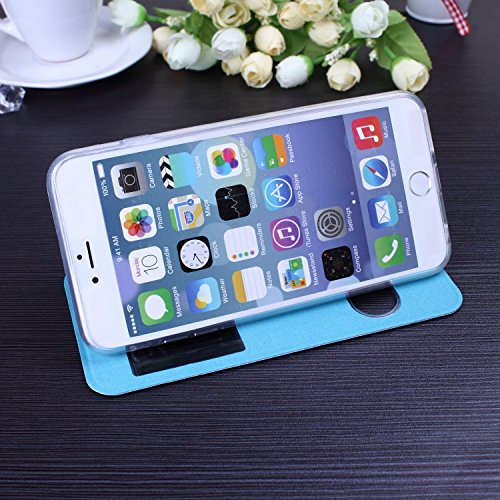 iPhone Case Cover neue einfarbig offene fenster brieftasche flip leder + tpu cover fall stehen für iphone 65 plus ( Color : Rose , Size : IPhone 6S Plus ) Blue