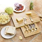 COSTWAY Käsebrett mit 4tlg. Besteck Käseset rechteckige Käseplatte Käseschneidbrett Käsemesser Set Bambus