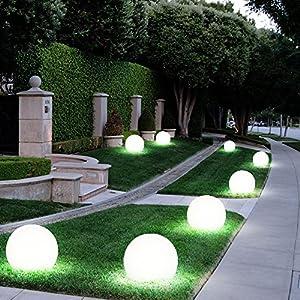 4er Set LED Außen Solar Lampen Kugel Design Erd Spieß Steck Leuchten Garten Weg Beleuchtung
