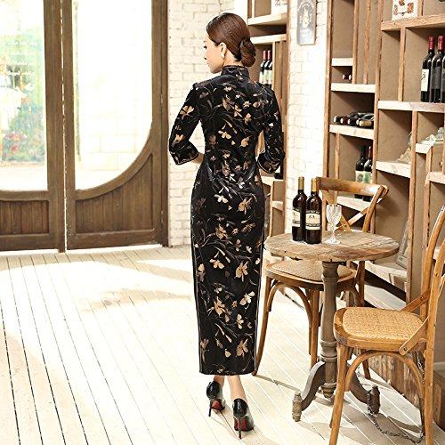 Smile YKK Femme Robe Chinoise Cheongsam Elégante Velours Multicolore