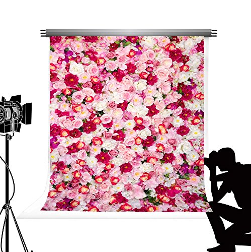 Hochzeit Blumen Wand Kulisse Nahtlose Foto Requisiten Stand Rosa Hochzeit Party Fotografie Hintergrund Fond Studio 1,5x2,2m ()