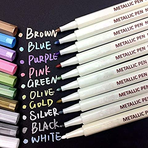 Oddis Metallic Pens, Glass pens, Specific Set of 10 Colors for Photo Album Drawing /DIY Album Making/Card Making, Use on any Paper, Glass, Plastic, Pottery, Wood