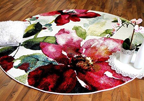 Pergamon Designer Teppich Brilliant Rosa Blumen Rund in 3 Größen (Blume Teppich Runde)