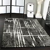 Designer Teppich Modern Trendiger Kurzflor Teppich in Grau Schwarz Creme Meliert, Grösse:70x140 cm