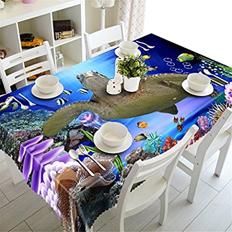 GFYWZ Tablecloth 3D Big turtles Digital printing Polyester Rectangular Dust-proof Kitchen Dinner Table Top Cover Available In Various Sizes Wedding Restaurant Decoration ,