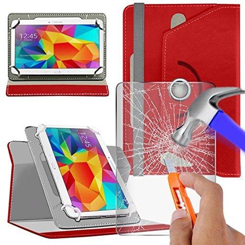 """Preisvergleich Produktbild N4U Online - Various Buntglas Schutzhülle & Rotierend PU Leder Schutzhülle für MEDION 8"""" HD LIFETAB P8311 Tablette - Rot"""