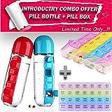 ImPrexO All In One Pill Organiser Bottle + Medicine Organiser Box Combo – (Includes Seven Days Pill Organizer & Storage Bottle + 7 Days * 4 Weeks (28 Days) Medicine Box Organizer) (PILL BOTTLE AND BOX COMBO)