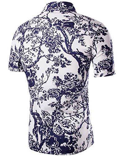 online store d6454 867b2 Herren Kurzarm-Hemd Mit Druck Strand Shirt Weiß