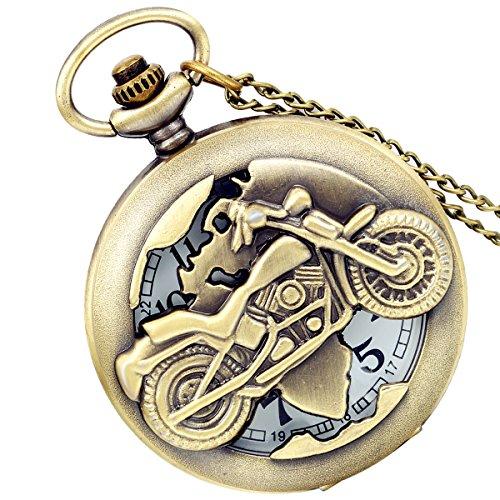 Lancardo Herren Vintage Motorrad Taschenuhr, Bronze Analog Quarz Hohe Openwork Uhr mit Halskette Kette Umhängeuhr Geschenk