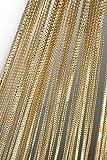 Haus und Deko Fadenvorhang Fadengardine mit Lurex veredelt Metallic Effekt Gardine Vorhang gold 90x250 cm