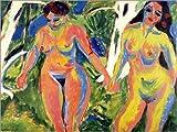 Posterlounge Alu Dibond 40 x 30 cm: Zwei Nackte Frauen im Wald von Ernst Ludwig Kirchner/Bridgeman Images