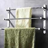 Contemporary Handtuchhalter 3 stangen Mirror poliert Finish 304 Edelstahl Badezimmer Wand montiert Chrom, 40 × 11,5 × 32 cm (15,7 × 4,5 × 12,6 Zoll)