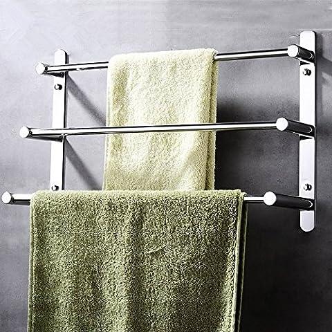 Contemporary Handtuchhalter 3 stangen Mirror poliert Finish 304 Edelstahl Badezimmer Wand montiert Chrom, 70 × 11,5 × 32 cm (27,5 × 4,5 × 12,6 Zoll)