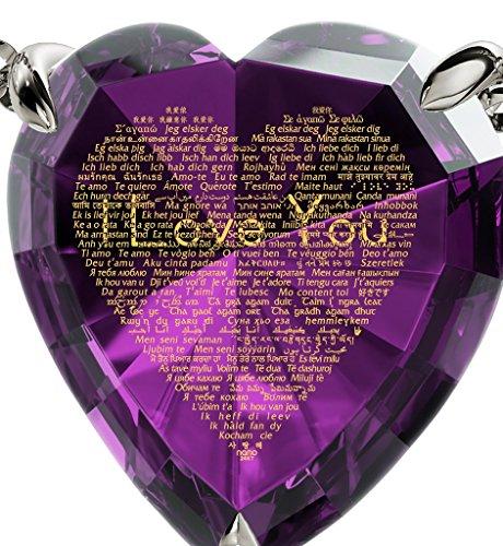 Bijoux Parure Coeur Argent fin - Pendentif avec Je t'aime en 120 langues inscrit en Or 24ct sur Zircon Cubique et Boucles d'Oreille Cristal Swarovski, 45cm Violet
