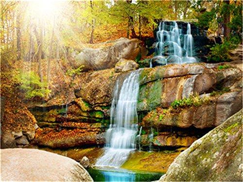 Diy Ölgemälde Malen nach Nummer Kit für Erwachsene Anfänger 16 x 20 Zoll - Goldener Stein Wasserfall, Dekoration mit Bürsten Weihnachtsdekorationen Geschenke (Without Frame)