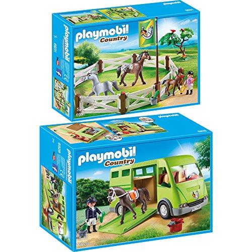 PLAYMOBIL® Country 2er Set 6928 6931 Pferdetransporter + Pferdekoppel