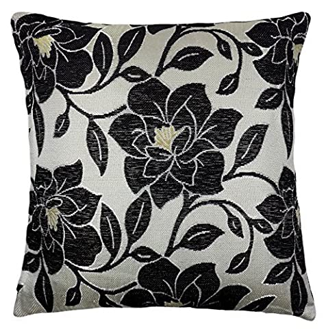 LUXURY CHENILLE FLORAL FLOWER THICK BLACK BEIGE CREAM CUSHION COVER 18